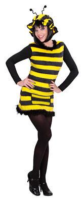 Bienenkostüm Damen sexy Biene Kleid Bienchen Plüsch mit Mütze Fasching - Kostüm Damen Mütze