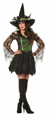 Hexenkostüm Damen Luxus sexy Hexen-Kleid Kostüm Hexe grün schwarz Damenkostüm (Grüne Kostüm Kleid)
