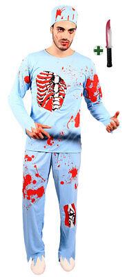 Arzt, Halloween Kostüme (Doktor Herren Horror-Kostüm mit Blut Zombie Arzt mit Messer Halloween-Kostüm KK)