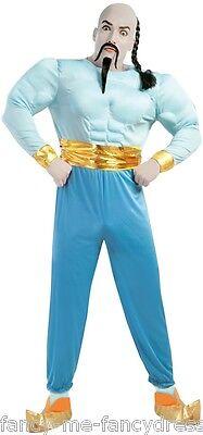 Herren Blau Arabisch Genie Büchertag Film Kostüm Kleid Outfit Größe L ()