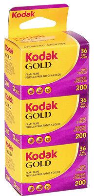 3 Rolls Kodak Gold 200 Color 135-36 Print Film - Sealed Packs - Dated: 09/2016