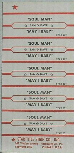 """JUKEBOX TITLE STRIP SHEET - SAM & DAVE """"Soul Man/May I Baby"""" Stax 231"""