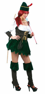 amen Mittelalter Räuberin Damenkostüm mit Hut Bogenschütze KK (Mittelalter Bogenschütze Kostüme)
