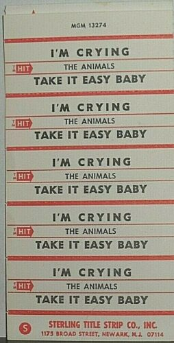 "JUKEBOX TITLE STRIP SHEET - THE ANIMALS ""I"