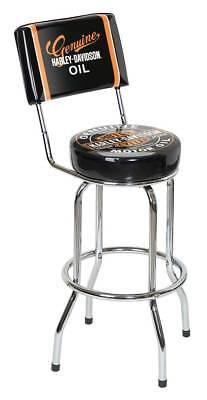 Harley-Davidson Genuine Oil Can Bar Stool w/ Backrest HDL-12203