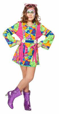 Hippie-Kostüm Mädchen Flower Power 60er Jahre Kinder Mädchenkostüm Karneval KK