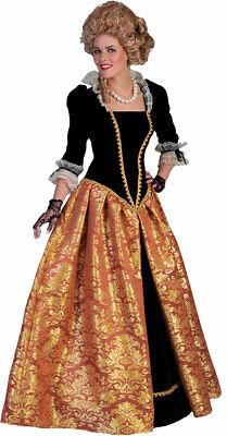 Rokoko Kostüm Damen Barock Damen-Kostüm Kleid lang schwarz - Gold Kostüm Kleid