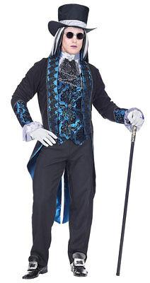 Vampir Kostüm Herren blau Gothic Graf Dracula inkl. Hut Halloween Herren-Kostüm