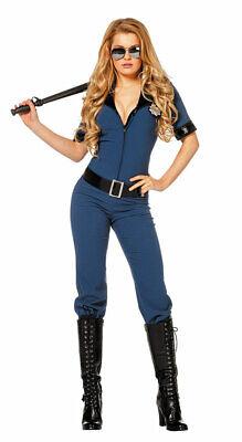 Polizistin Kostüm Damen sexy Polizei Polizist Overall Uniform Frauenkostüm (Kostüm Schwarz Overall)