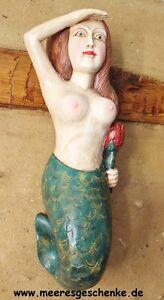 Deko Galionsfigur Undine ca. 55 x 14 x 16 cm Holz farbig behandelt