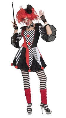 Pierrot Kostüm Damen Narren schwarz weiß rot Tunika ohne Petticoat Fasching KK