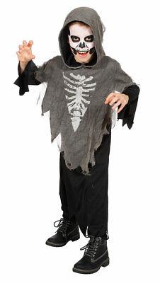 Horror Skelett  Kostüm Kinder Geist Sensenmann Halloweenkostüm Fasching KK