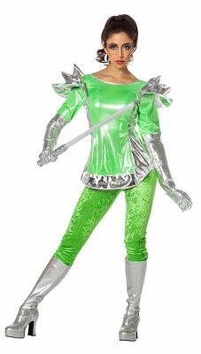 Space Kostüm Damen Alien Weltraum grün silber Damenkostüm Fasching Karneval (Raum Alien Kostüm)