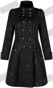 Womens Victorian Military Brocade Trench Coat Punk Gothic Jacket Size UK 8 - 10