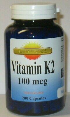 Natural Vitamin K2 - Menaquinone 7 (MK 7) 100 mcg 200 Capsules  EXP. - 200 Mcg 100 Capsules