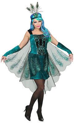 Pfau Kostüm Damen mit Kopfschmuck Pfauenfedern Pfaufeder Damen-Kostüm Fasching K