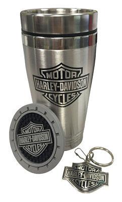 - Harley-Davidson Bar & Shield Auto Travel Set, Travel Mug, Key Chain & Coaster