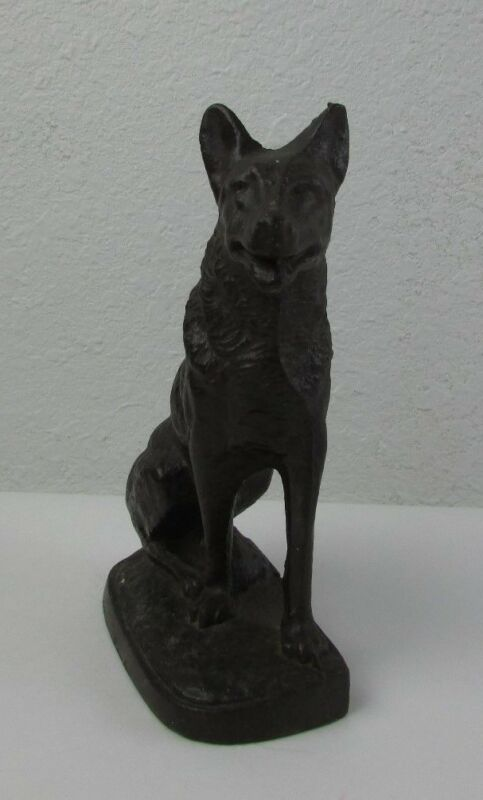 Vintage Cast Iron Dog Door Stop Copyright 1927 Polybull
