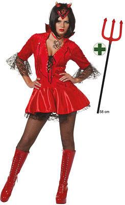 Teufel Kostüm Damen sexy Teufelin Satan Devil mit Teufelsgabel Halloween-Kostüm