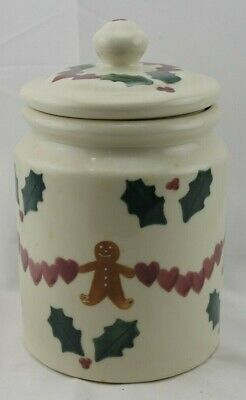 Vintage Hartstone Cookie Jar Christmas Hearts Gingerbread Men Holly Berry