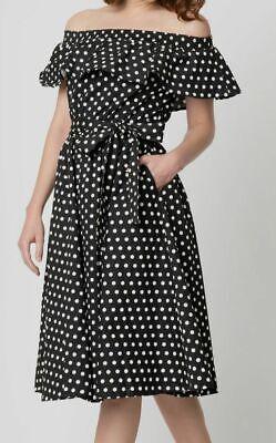 $254 Unique Vintage Women's Black Off-The-Shoulder Polka Dot Swing Dress Size L