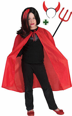 Teufel Umhang Kinder Kostüm MIT Teufelsgabel Teufelshörner Halloweenkostüm KK