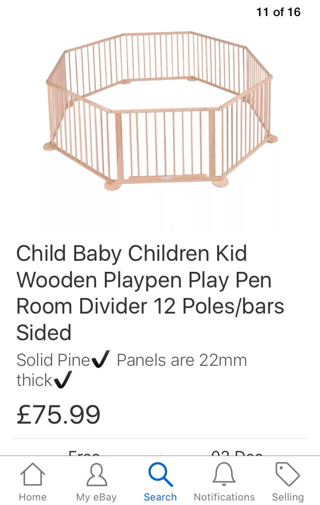 New in box Child baby wooden playpen room divider