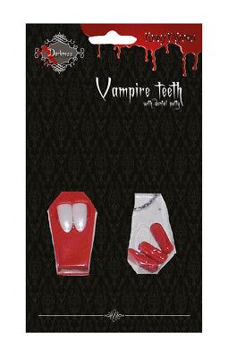 Vampir-Zähne Dracula-Zähne mit Blut-kapseln Kunstblut Halloween Karneval KK