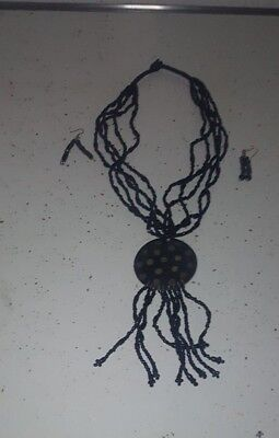 African Jewelry Necklace Set/African Clothing/Wearable Art 1E609BLK7 Kwanzaa