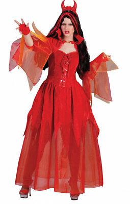 Teufel Kostüm Damen Teufelin Satan Lucifer Halloweenkostüm Teufelskleid lang rot