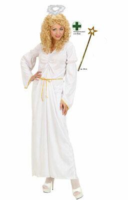 Engel Kostüm Damen Engelskostüm Erwachsene Weihnachten mit Heiligenschein Stab K