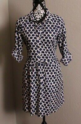 GAP WOMEN'S BLUE/WHITE POLKA DOT ELASTIC WAIST SHIRT DRESS SZ XS RUNS BIG Big Dot Dress