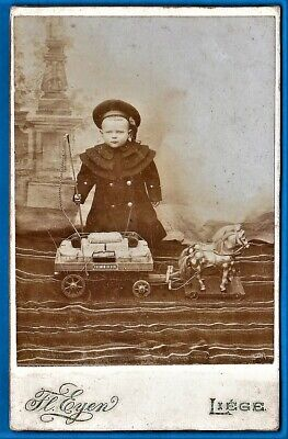 vintage cabinet card photo kid early large horse drawn waggon toy jouet ca 1900