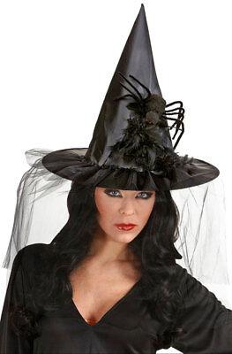 Hexenhut Damen Hut Hexe mit Tüll Federn und - Federn Hexe Hut Schwarz