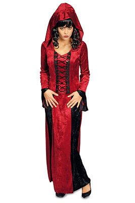 Vampir Kostüm Damen Vampir-Kleid mit Kapuze Gothic Damenkostüm Halloween  KK (Vampir Halloween Damen Kostüm)