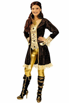 Piratenkostüm Damen Piratin Piratenjacke Piratenmantel braun Piratenbraut - Pirat Mantel Damen