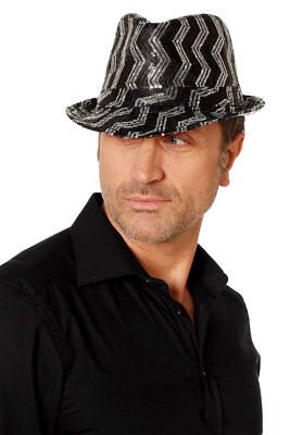 Popstar Hut Pailletten-Hut gestreift schwarz silber Disco 80er Jahre Hut glitzer