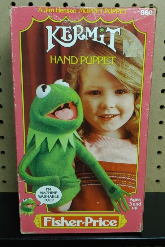 1978 Fisher Price Jim Henson Muppets Kermit The Frog Hand Puppet #860 With Box