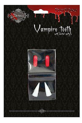 Dracula-Zähne Vampir-Zähne mit Blut-kapseln Kunstblut Halloween Karneval KK