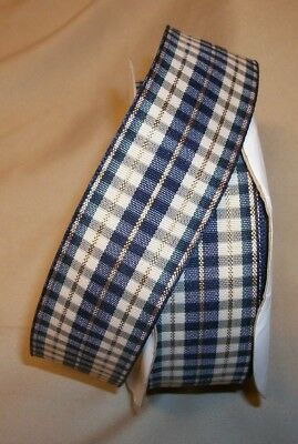 5 Yds.  IVORY & NAVY REGAL PLAID FABRIC RIBBON 1 1/2