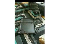 Dog cage medium size with hard plastic tray