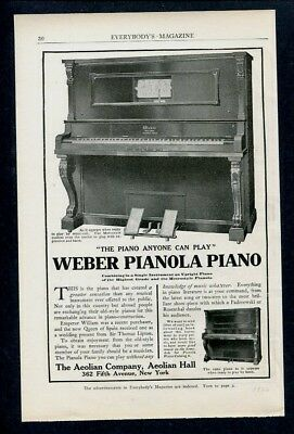 1906 Weber Pianola Piano ~ Large Picture of Piano Shown ~ Aeolian Co. Ad Print