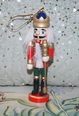 Traditional Wooden Christmas Nutcracker Soldier King Decoration with Crown, Mace