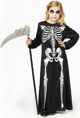 Skelett Kostüm Kinder Mädchen Horror langes Zombie Skelettkleid - Skelett Kostüm Mädchen
