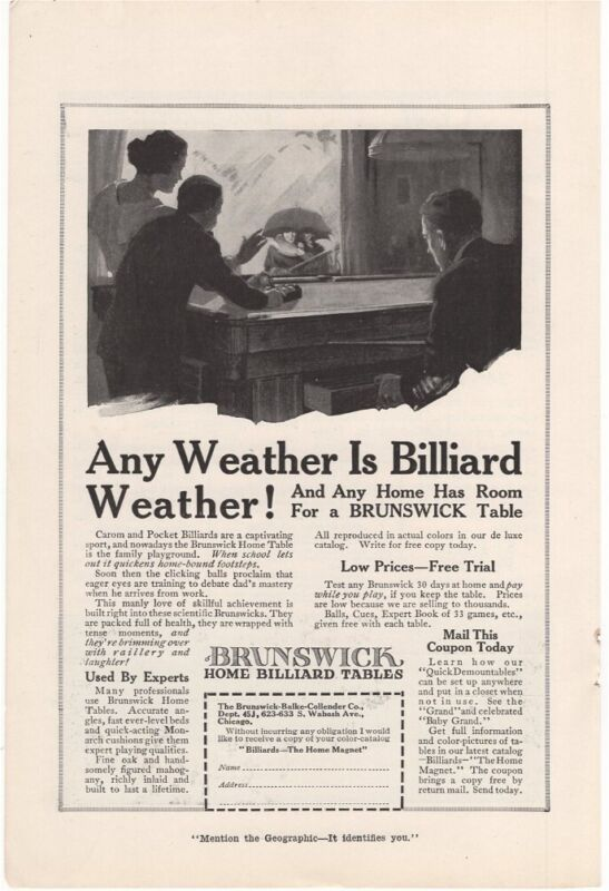 1917 Vintage Ad Any Weather Is Billiard Weather Brunswick
