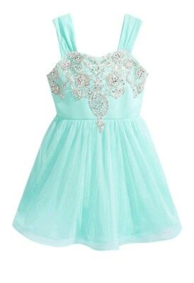 Sequin Hearts Big Girl's Dazzling Embellished Bodice Party Dress-Size-14-Aqua