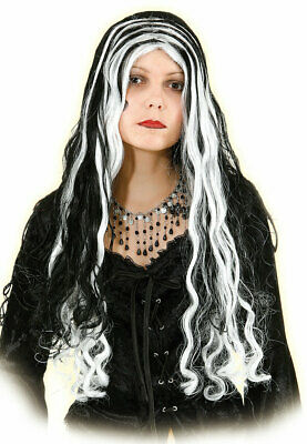Perücke Hexe Hexenperücke schwarz Damen schwarz-weiß Kinder lang - Weiße Hexe Perücke