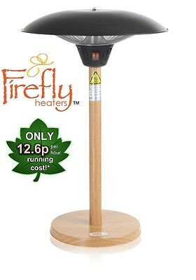 Firefly Heater Electric Table Top Wood Effect Stand Outdoor Heating 2.1KW