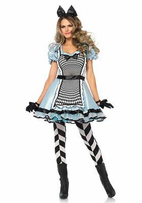 Alice im Wunderland Kostüm Damen Alice-Kleid Herz Märchen - Schwarz Alice Im Wunderland Kostüme