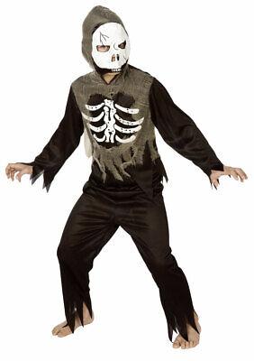 Skelett Kostüm Kinder Horror grau schwarz Sensenmann mit - Skelett Halloween Kostüm Kind